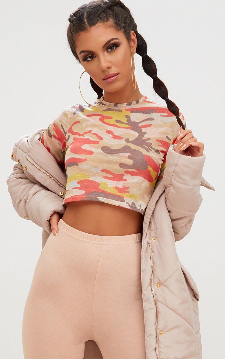 Cream Camouflage Crop T Shirt