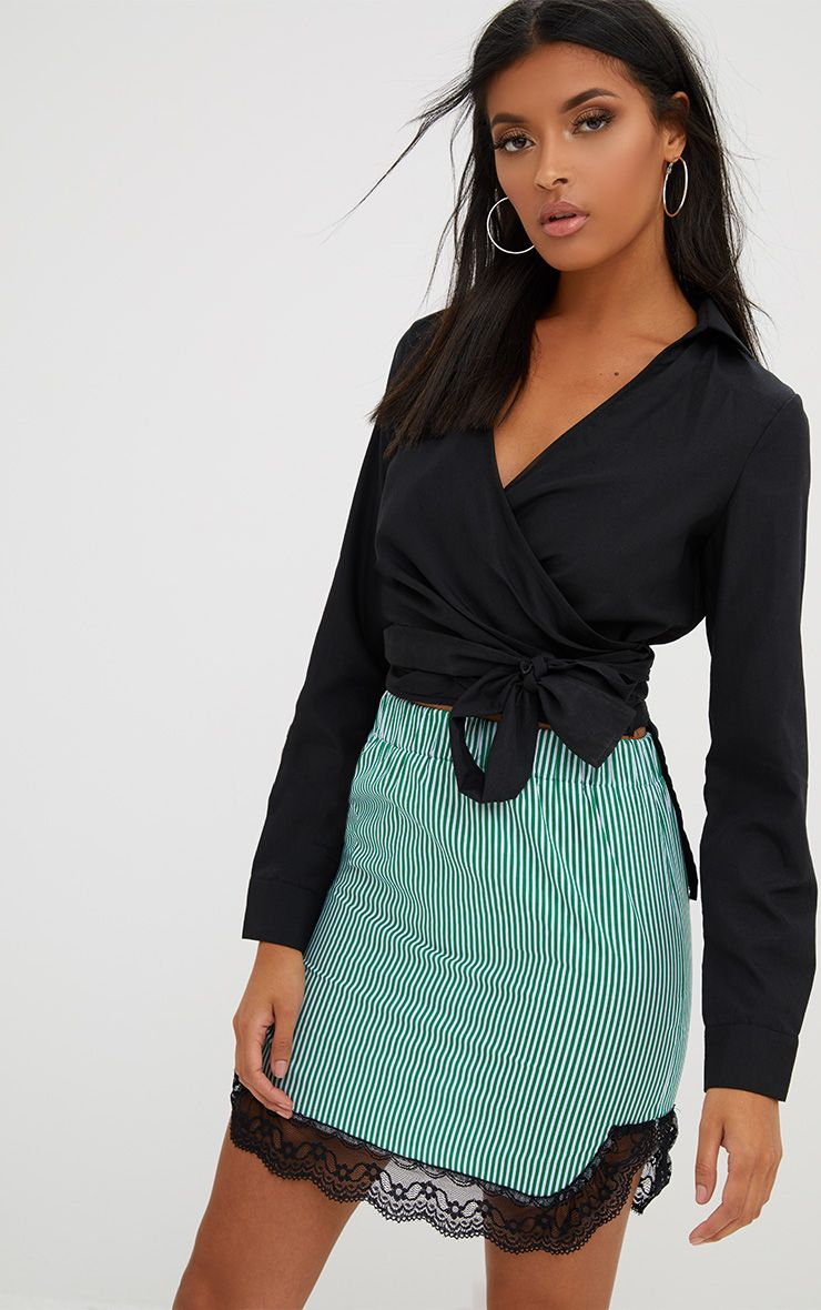 Green Pinstripe Lace Trim Mini Skirt