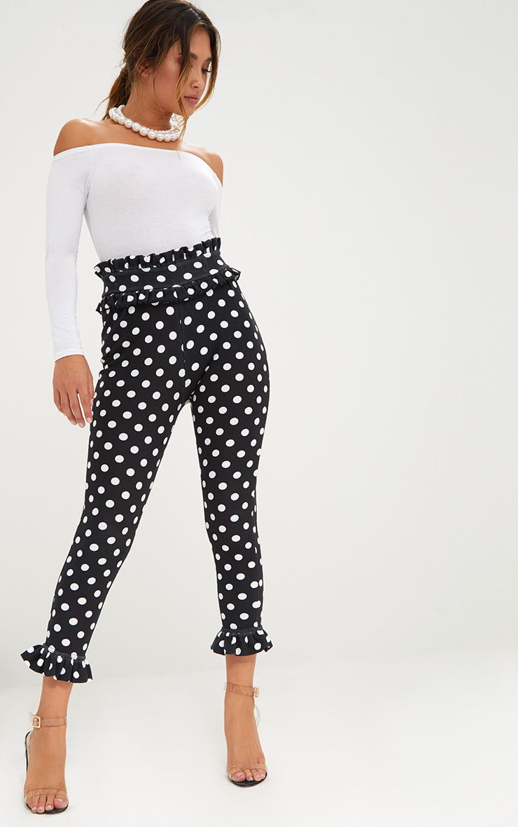 Black Polka Dot Frill Trim Trousers