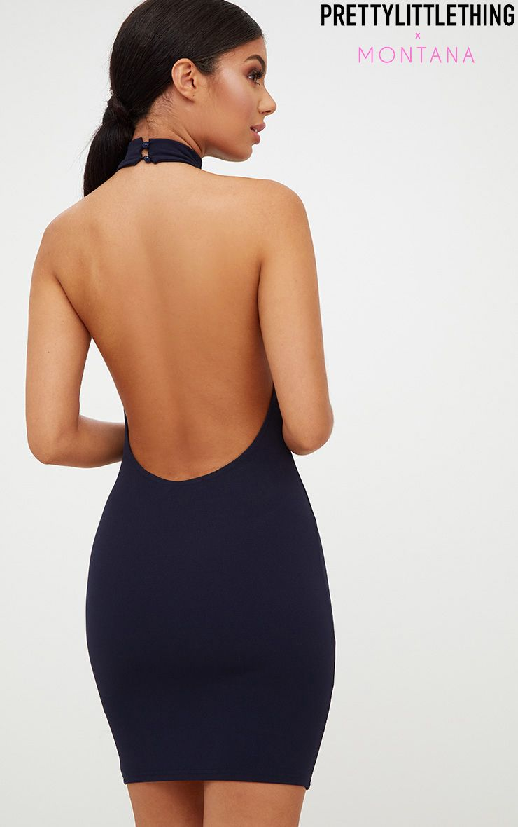 Navy High Neck Low Back Bodycon Dress