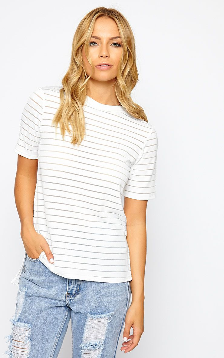 Elodie Cream Burnout Stripe T-Shirt 1