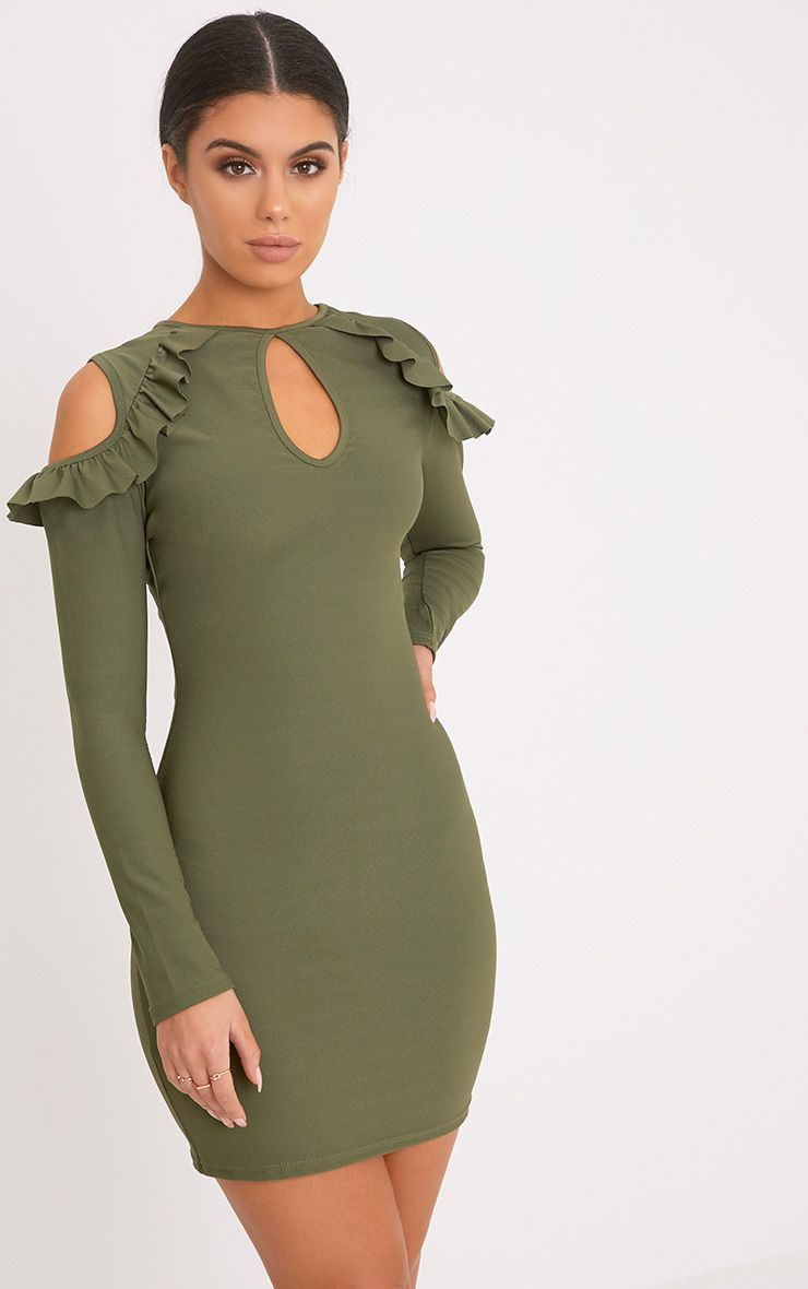 Cadence Khaki Cold Shoulder Frill Detail Bodycon Dress