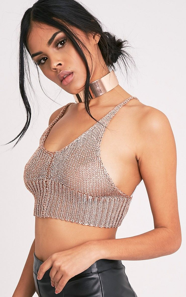 Amba Rose Gold Metallic Knit Bralet 1