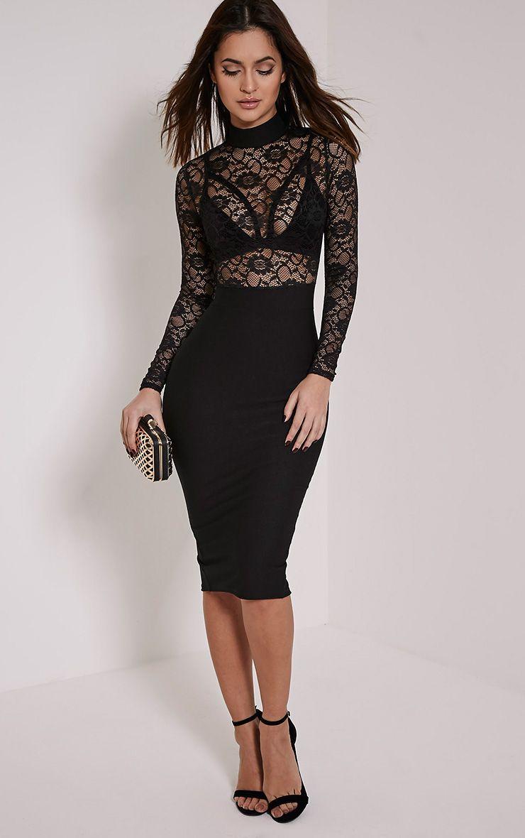 Kizzy Black Lace Top Midi Dress 1