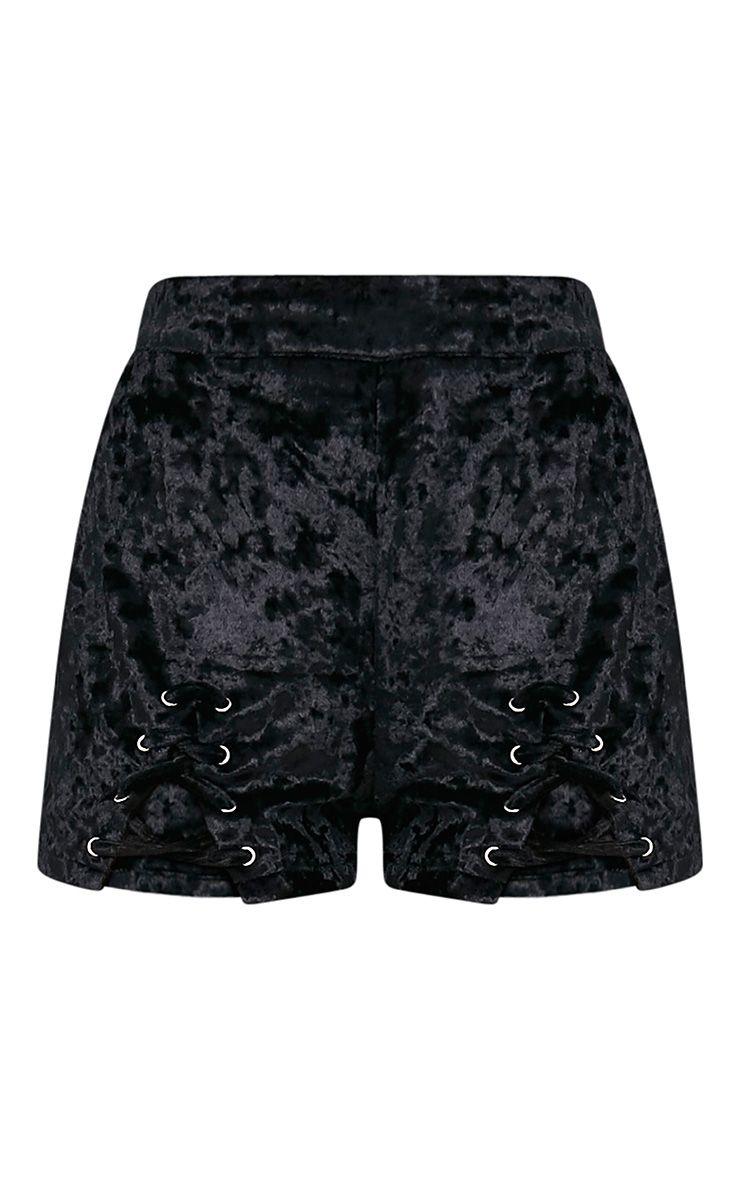 Aly Black Crushed Velvet Lace Up Hotpants 3