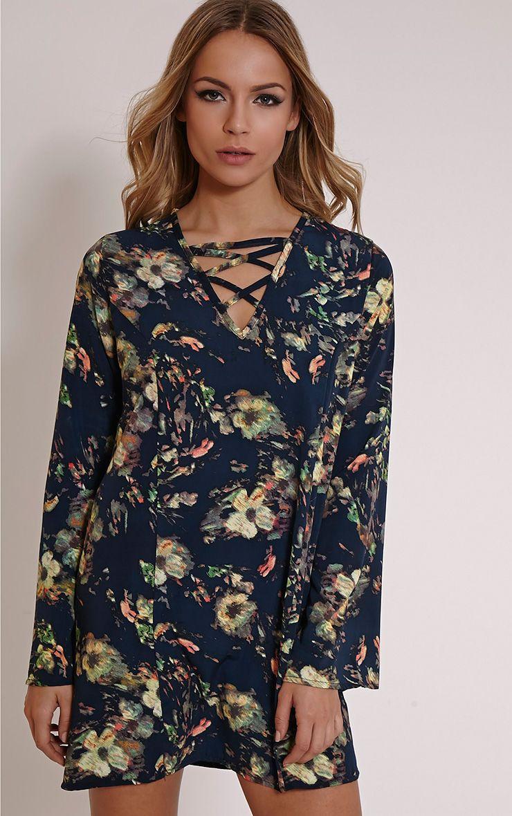 Liz Black Floral Swing Dress 1