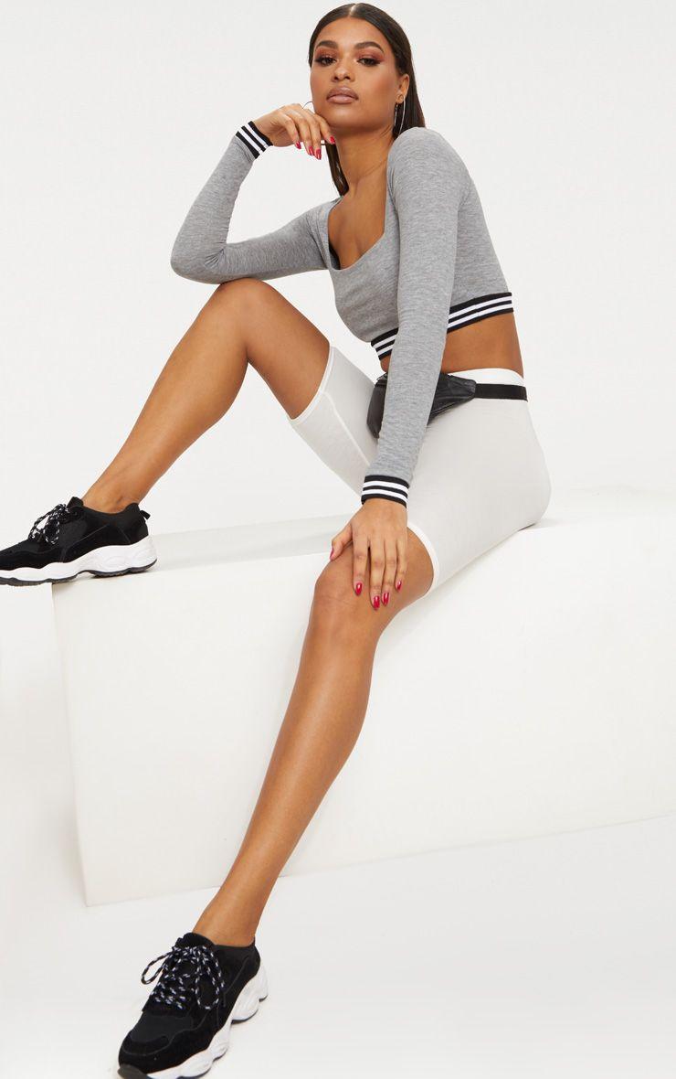 Grey Square Neck Long Sleeve Sport Trim Crop Top