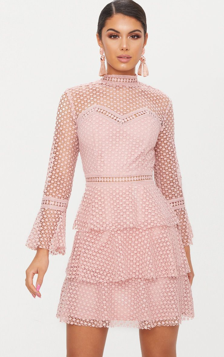 Dusty Pink Flare Sleeve Lace Tiered Mini Dress