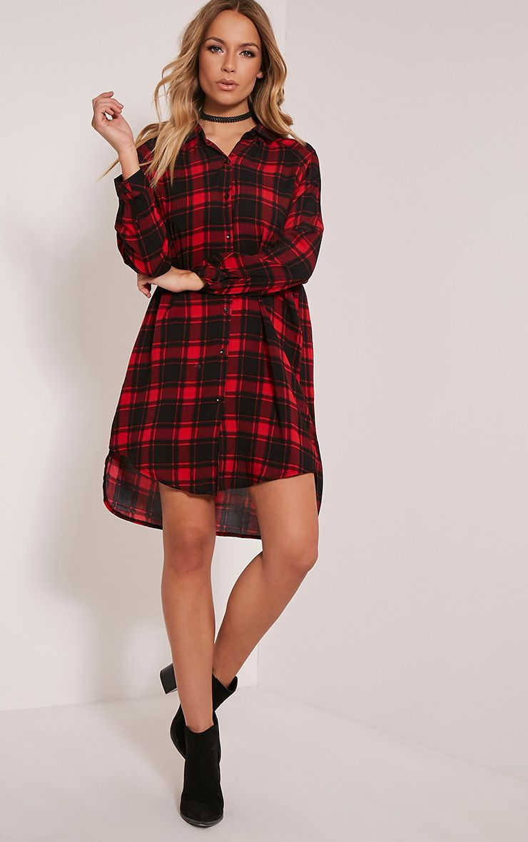 Ronah Red Checked Shirt Dress 1