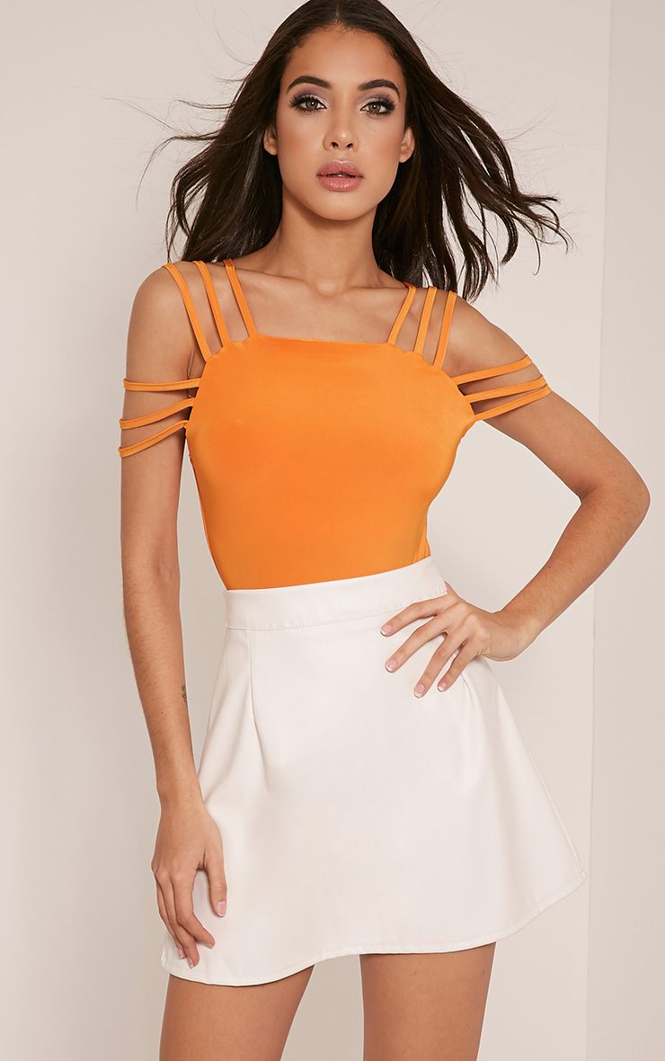 Marnie Bright Orange Strap Detail Slinky Bodysuit 1