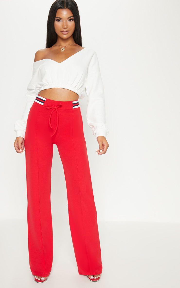 Red Sport Waist Drawstring Trouser
