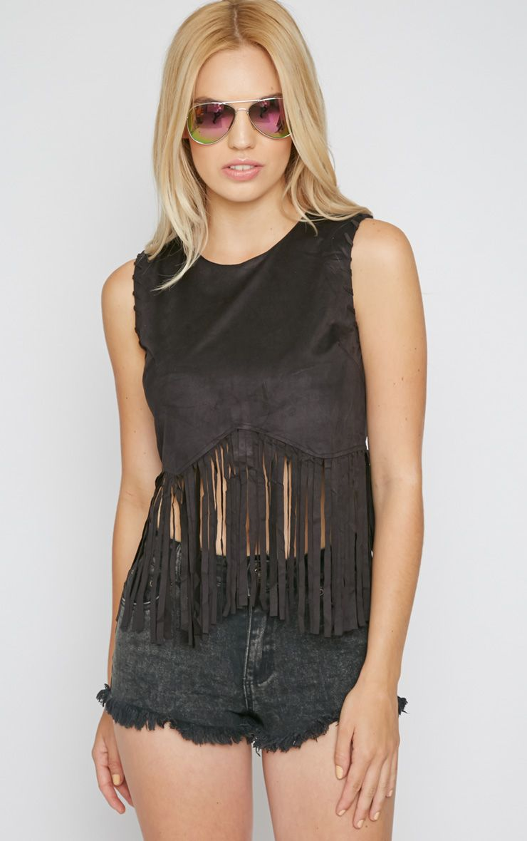 Brielle Black Suedette Tassel Crop Top  1