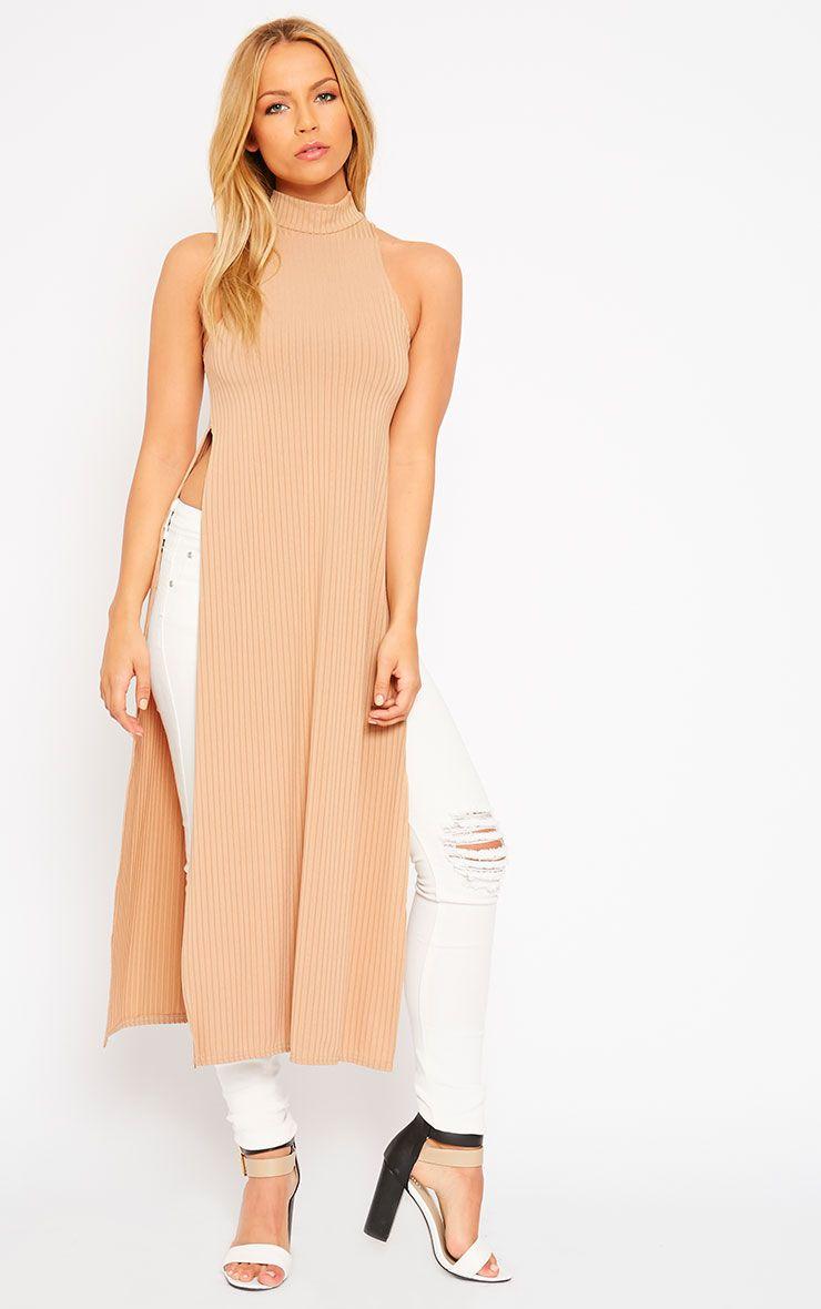 Aaralyn Camel Ribbed Side Split Dress 1