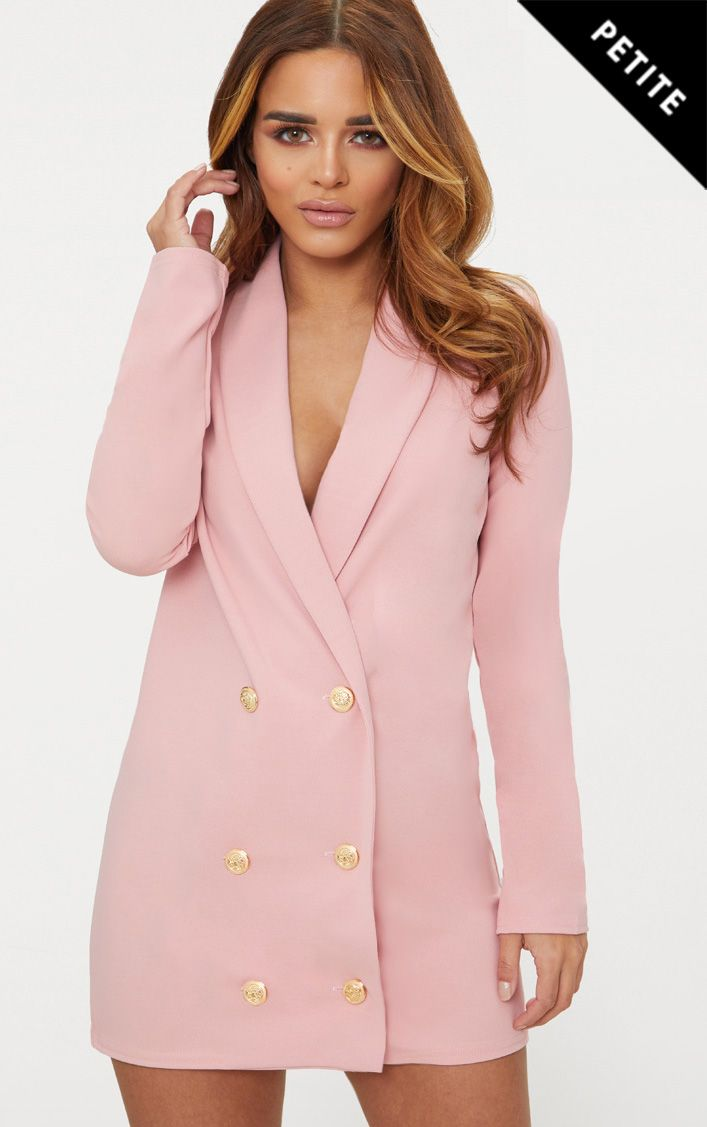 Petite Dusky Pink Gold Button Blazer Dress Prettylittlething