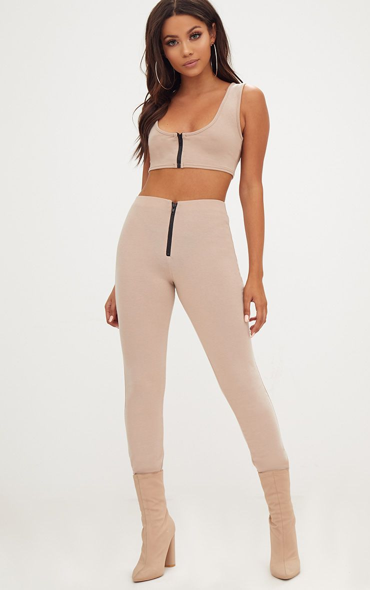 Sand Zip Front Track Leggings
