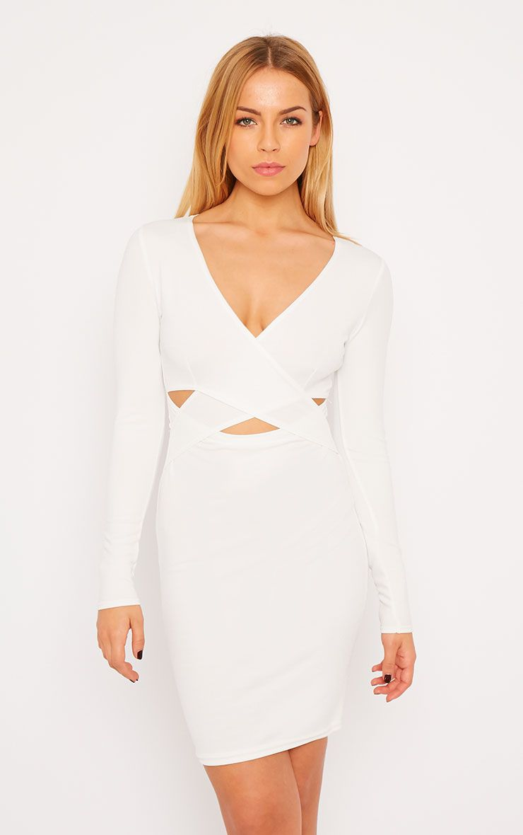 Hayley White Crepe Cross Over Dress 1