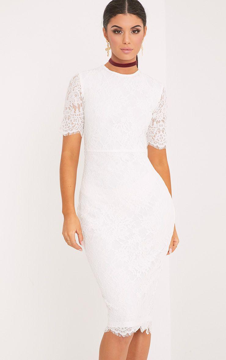 Frankie White Lace Tie Back Midi Dress