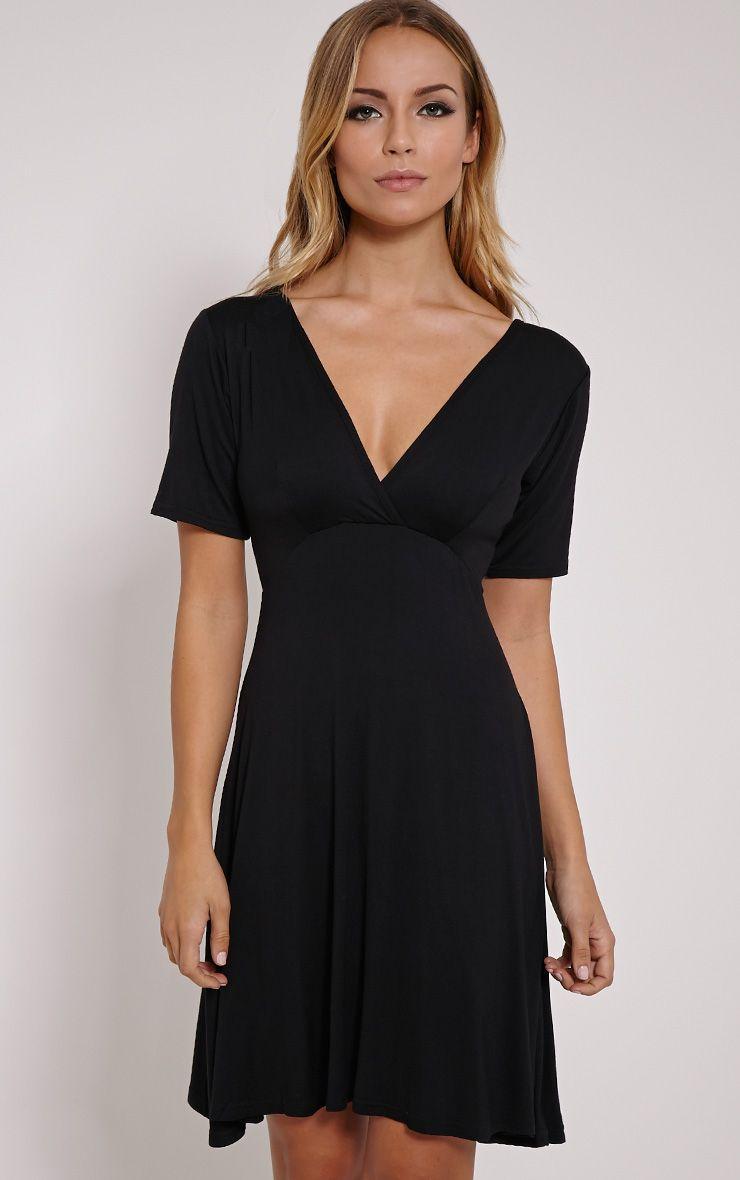 Basic Black Plunge Wrap Skater Dress 1