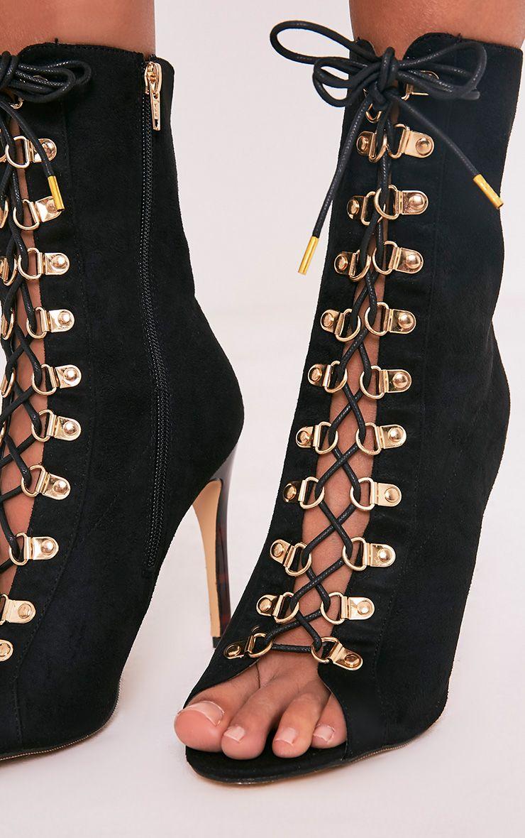 Elina bottines noires à bout ouvert à lacets 5