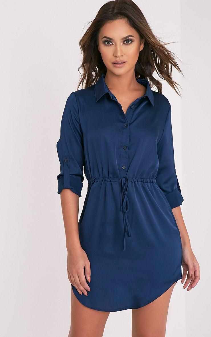 Amanda Navy Tie Waist Satin Shirt Dress 1