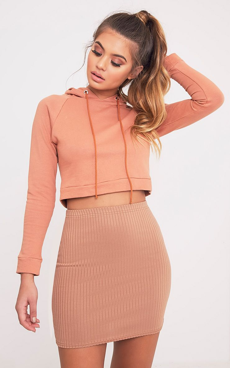 Kristine Camel Ribbed Mini Skirt