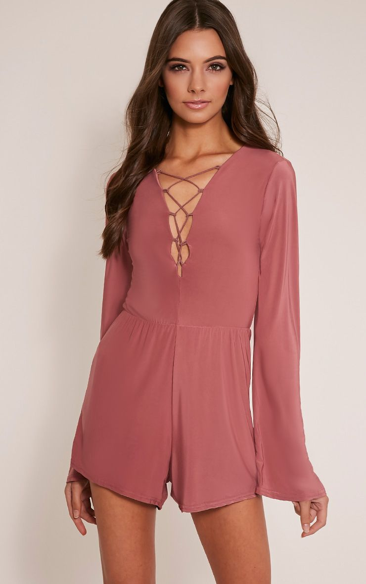 Talma Rose Lace Up Slinky Playsuit 1