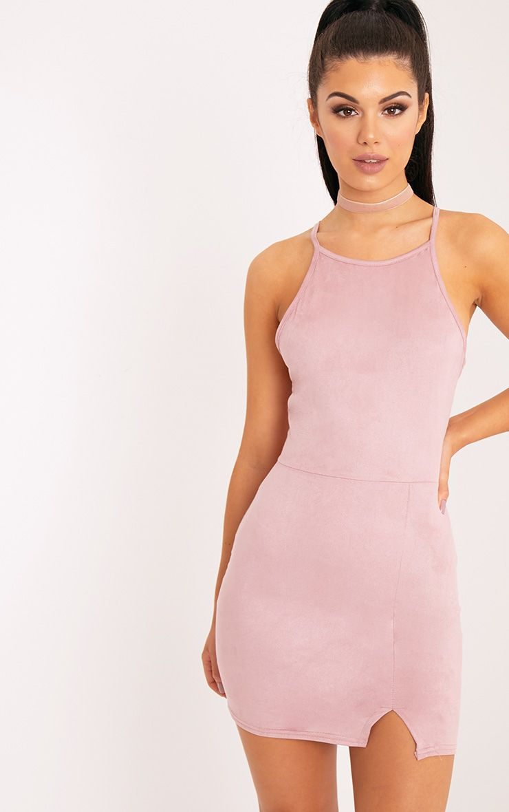 Rosalin Rose Faux Suede Bodycon Dress