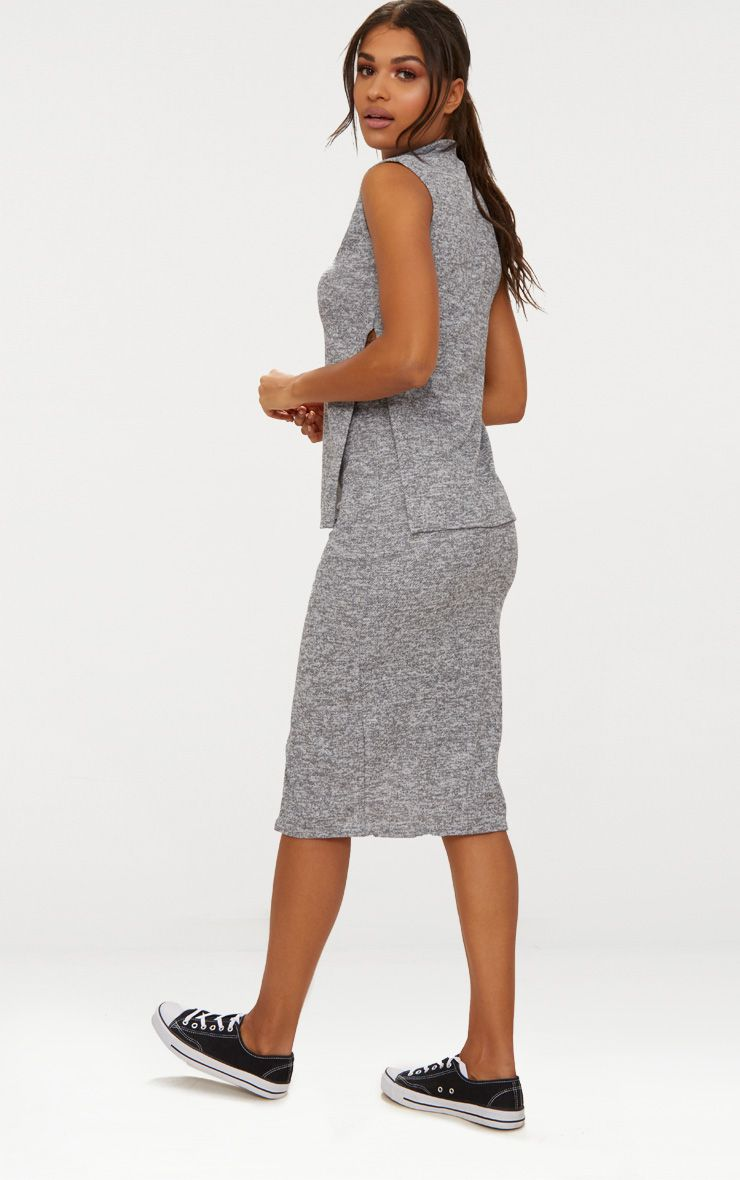 Grey High Neck Co ord Skirt Set