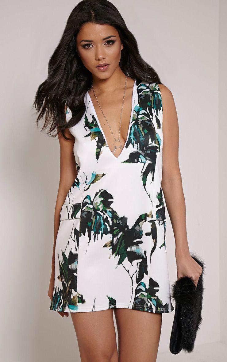 Imogene White Leaf Print Extreme Mini Shift Dress 1
