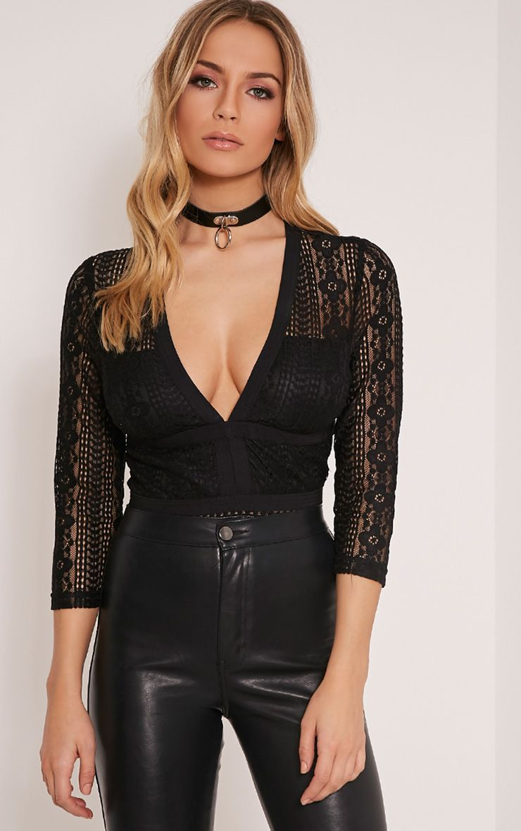 Donna Black Lace Plunge 3/4 Sleeve Bodysuit 1