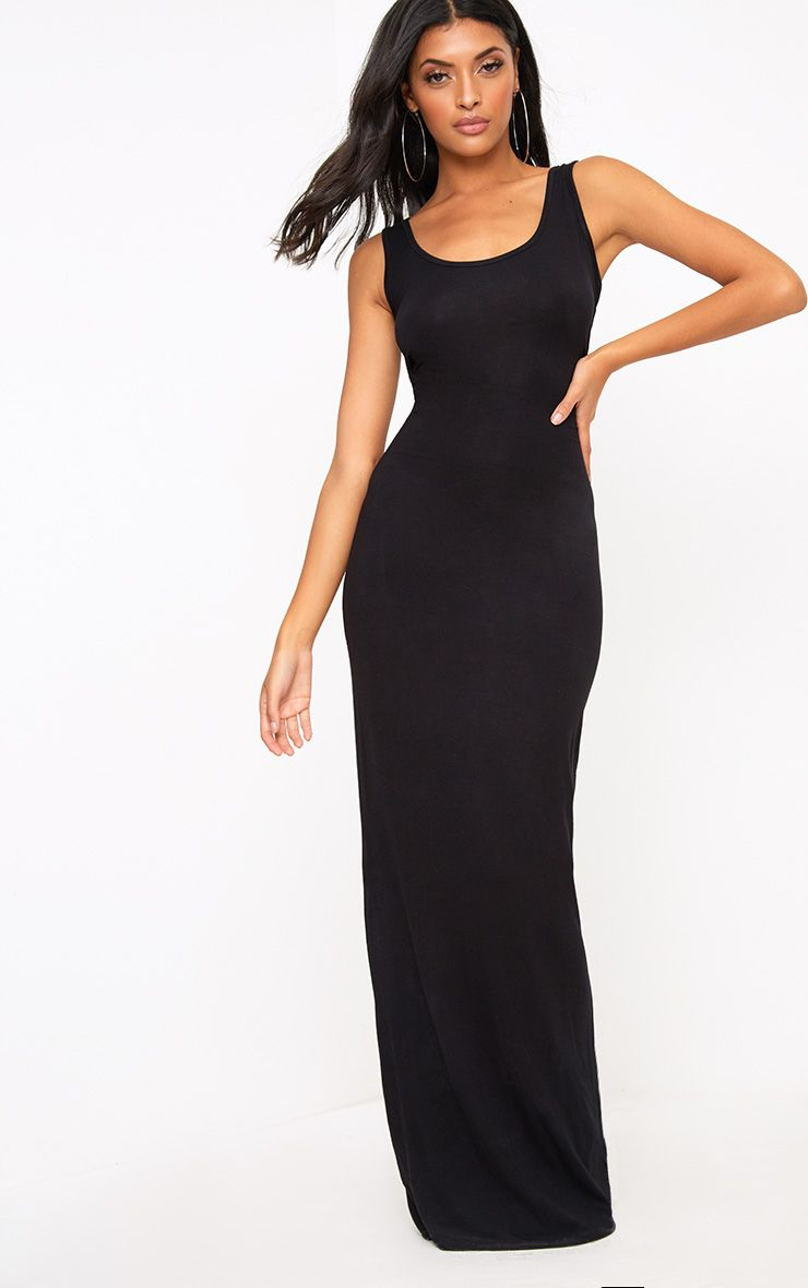 Black Racer Maxi Dress