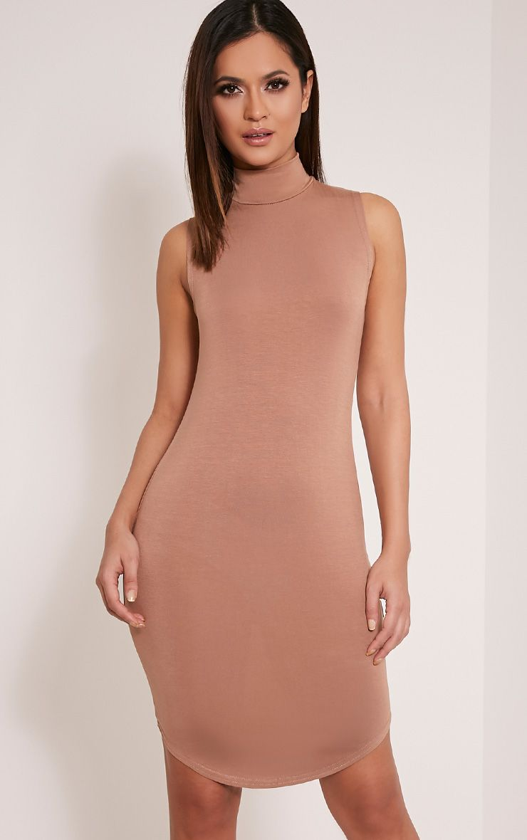 Alby Camel Sleeveless Curve Hem High Neck Dress 1