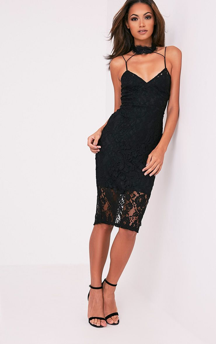 Ciana Black Choker Detail Lace Midi Dress