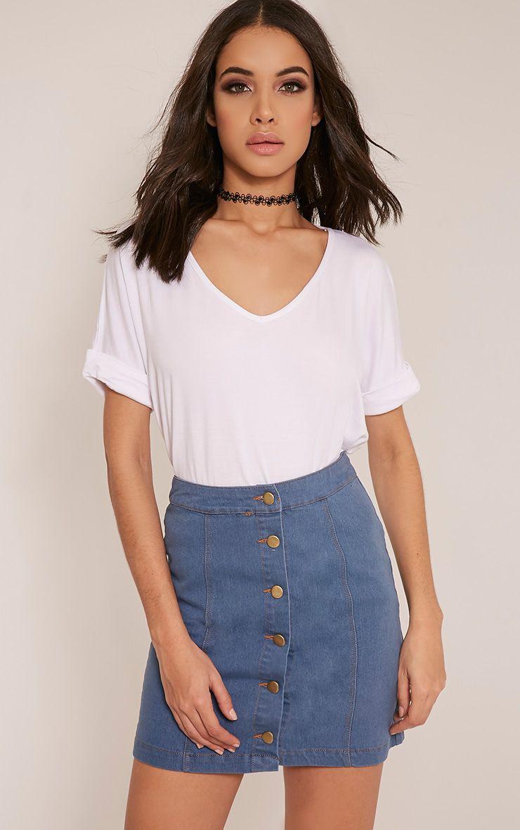 Cammie Light Wash Denim Mini Skirt 1