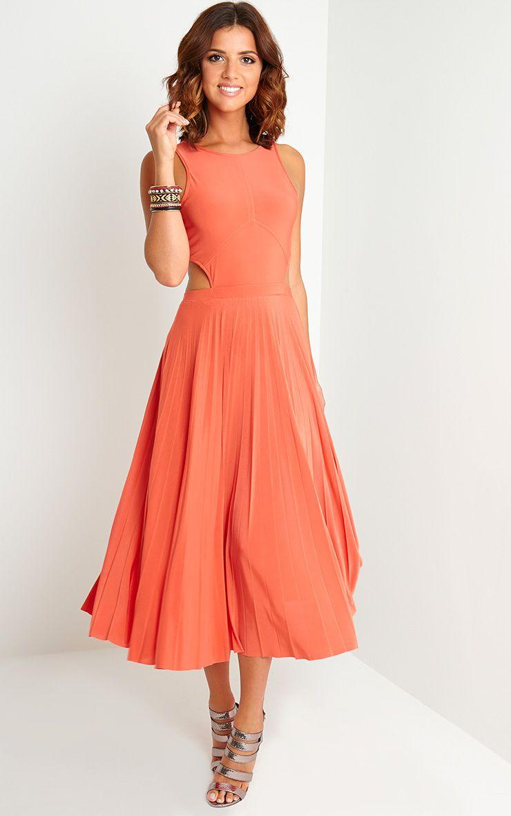 Ebony Orange Cut Out Pleated Midi Dress 1