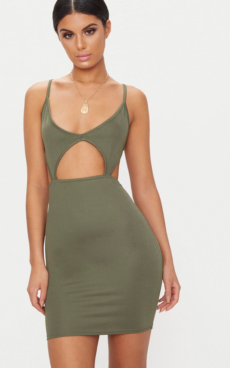 Khaki Strappy Plunge Cut Out Detail Bodycon Dress