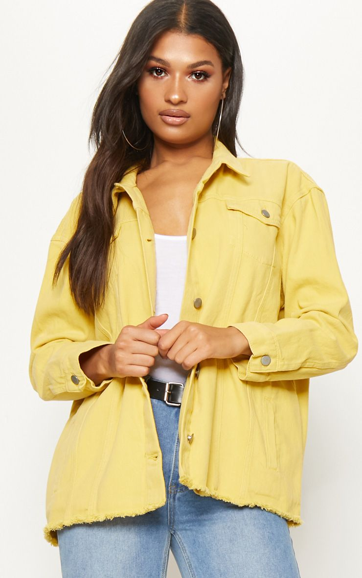 Yellow Tie Waist Oversized Denim Jacket