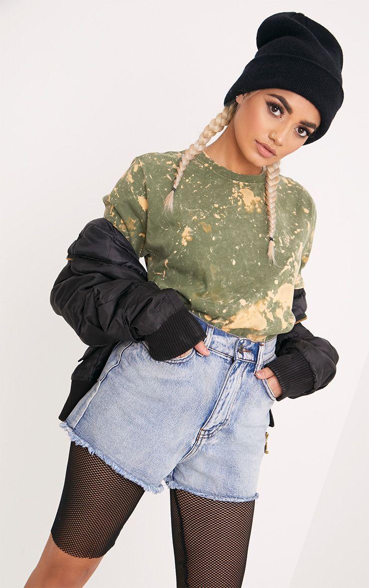 Jasmyn Khaki Extreme Bleach Contrast T Shirt