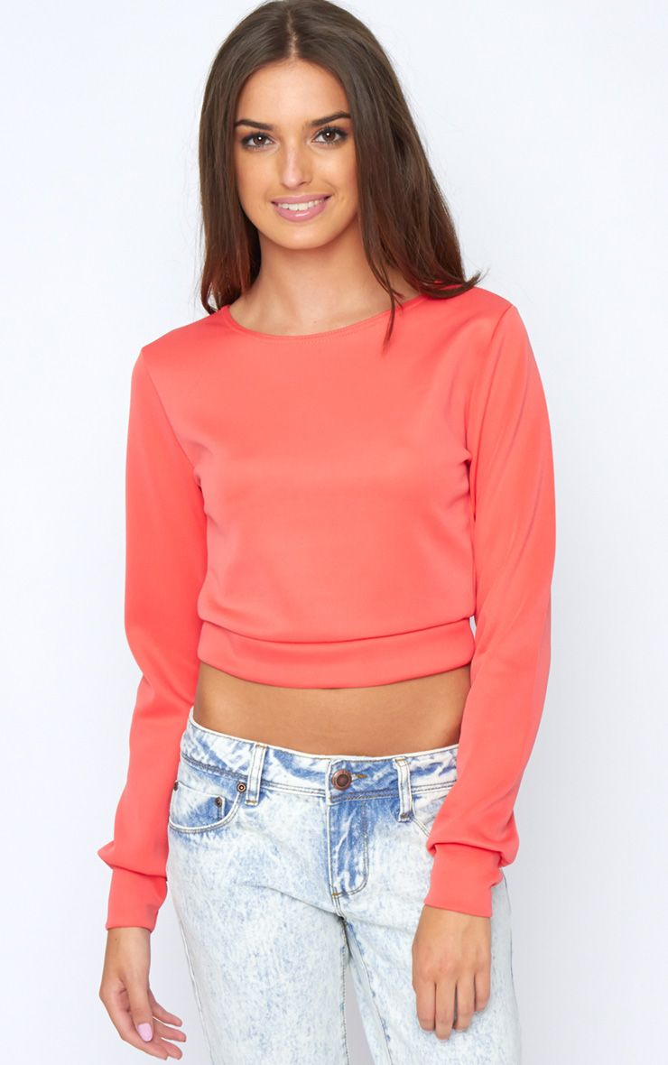 Grace Coral Cropped Scuba Sweater 1