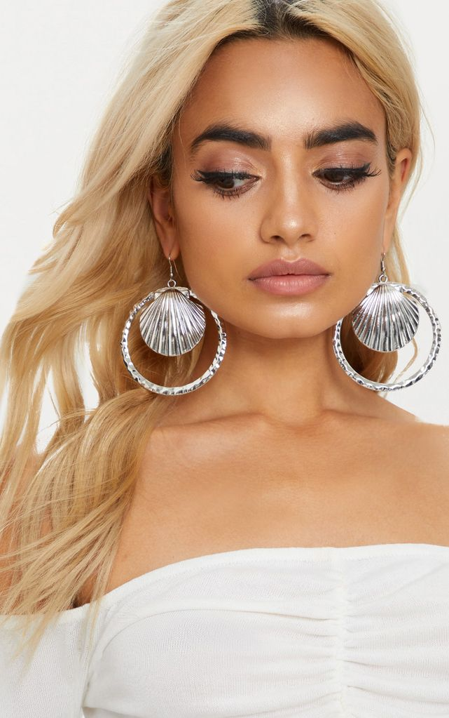 Silver Large Shell Hoop Earrings