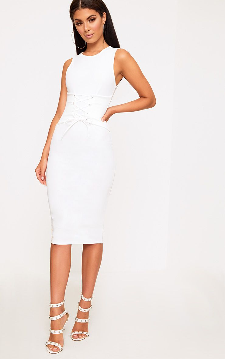 White Corset Detail Midi Dress. Dresses ...