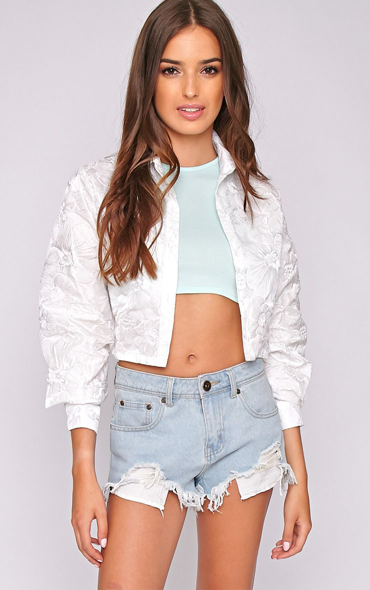 Romy White Oversized Cropped Shirt 1