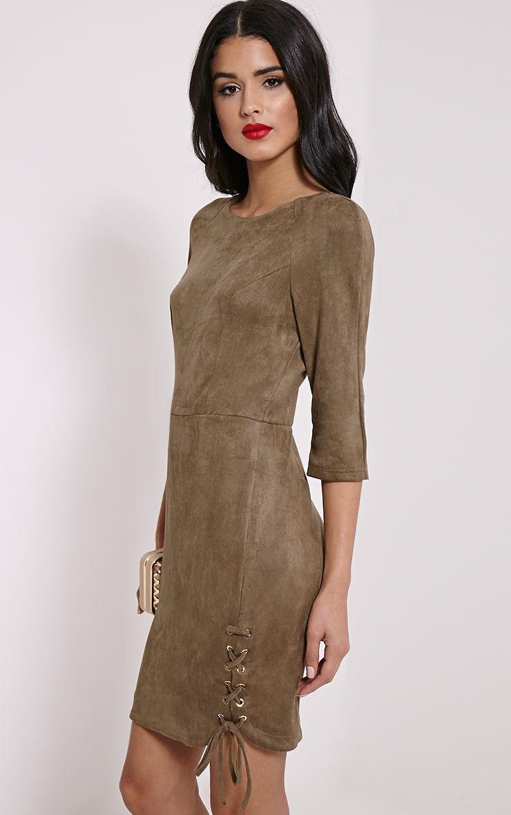 Brooke Khaki Lace Up Detail Suede Dress 1