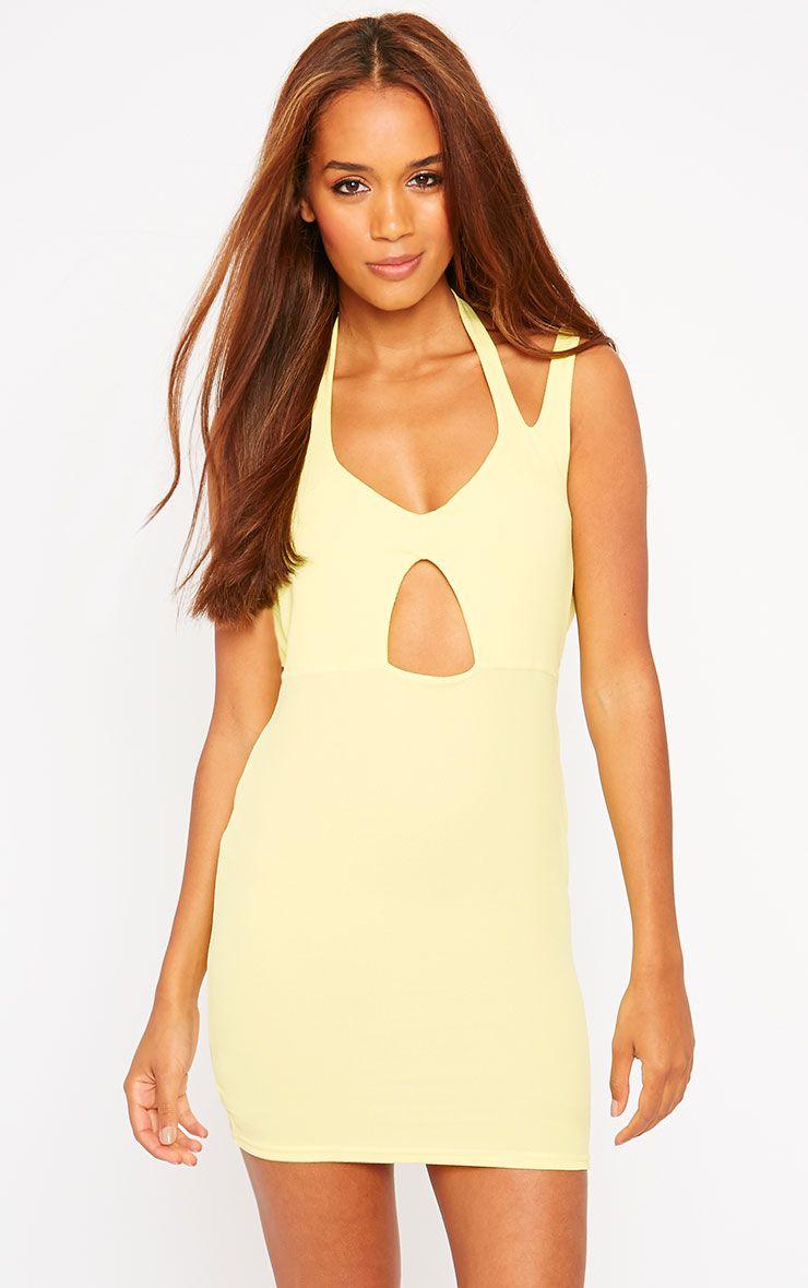 Audrina Yellow Crepe Cut Out Mini Dress 1