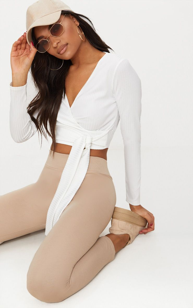 Cream Rib Long Sleeve Wrap Top