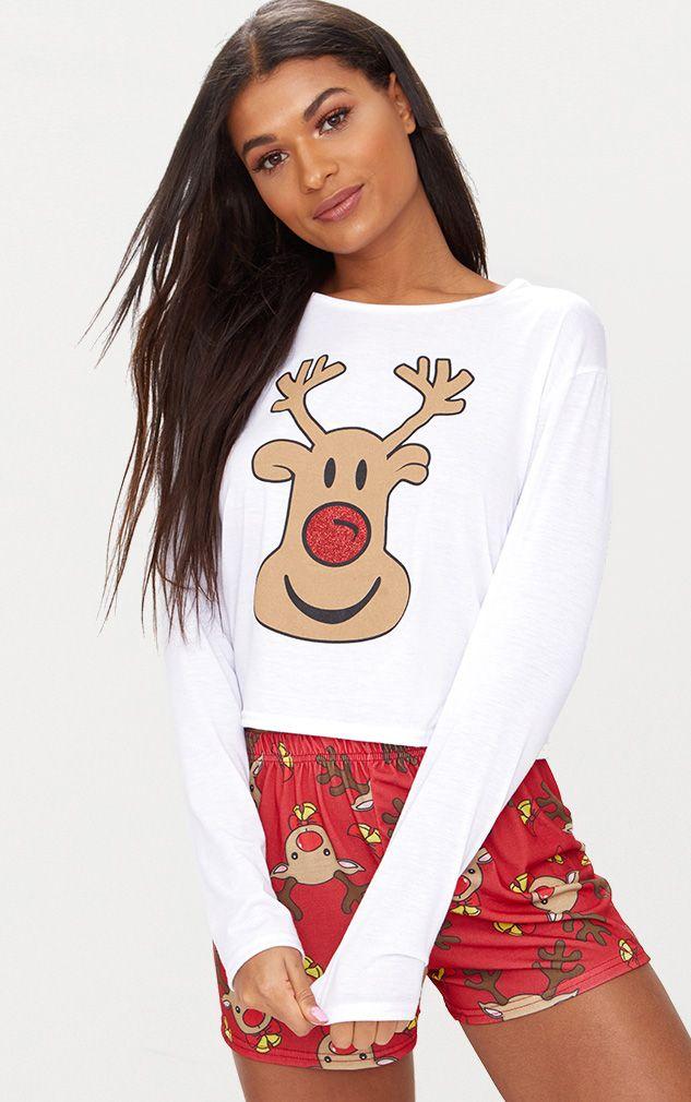 Red Rudolph Short PJ Set