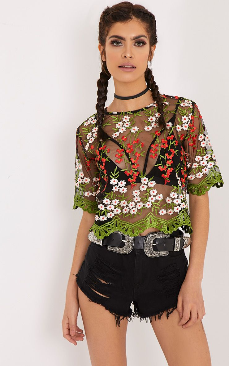 Loren Black Embroidered Top