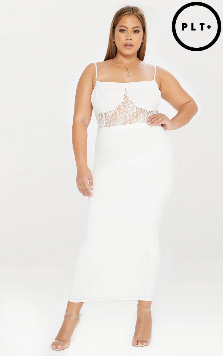 Plus White Second Skin Slinky Midaxi Skirt