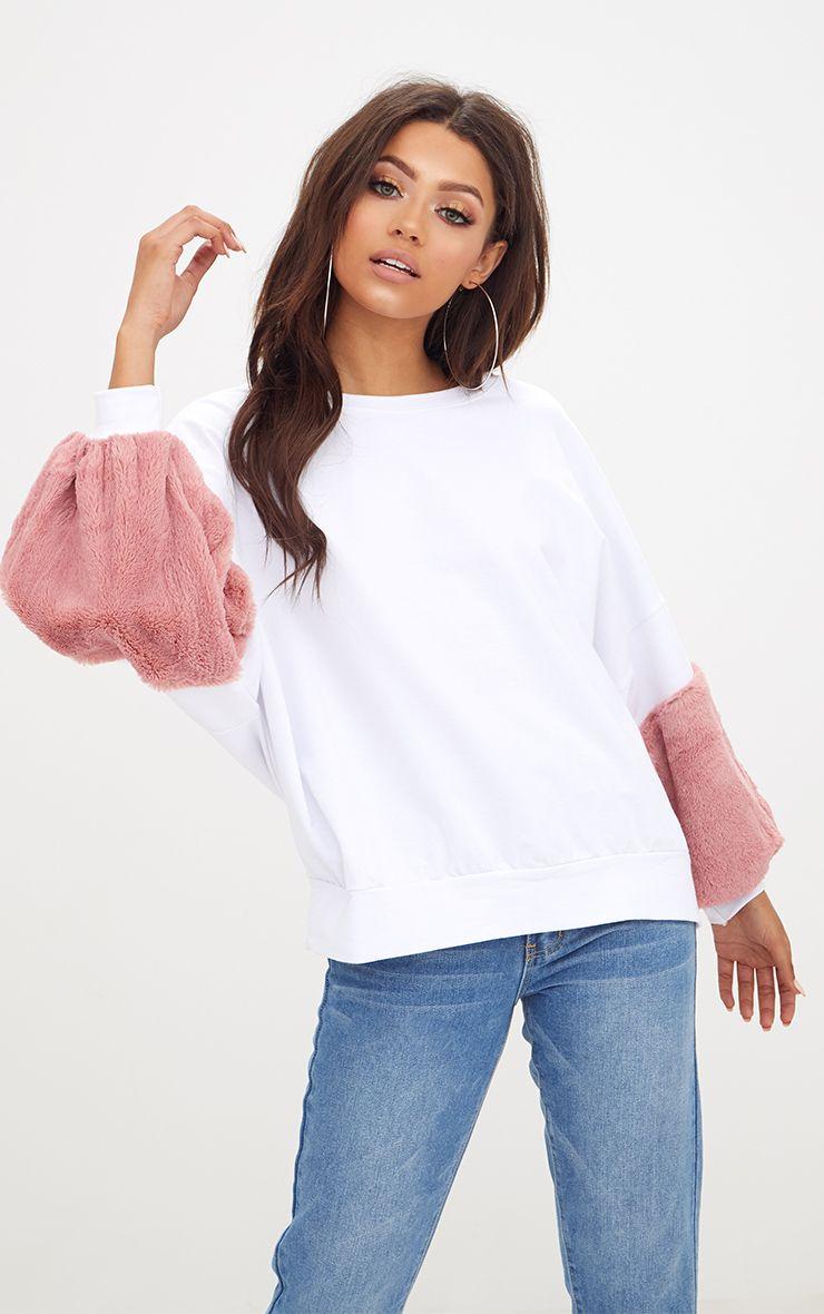 White Faux Fur Sweater