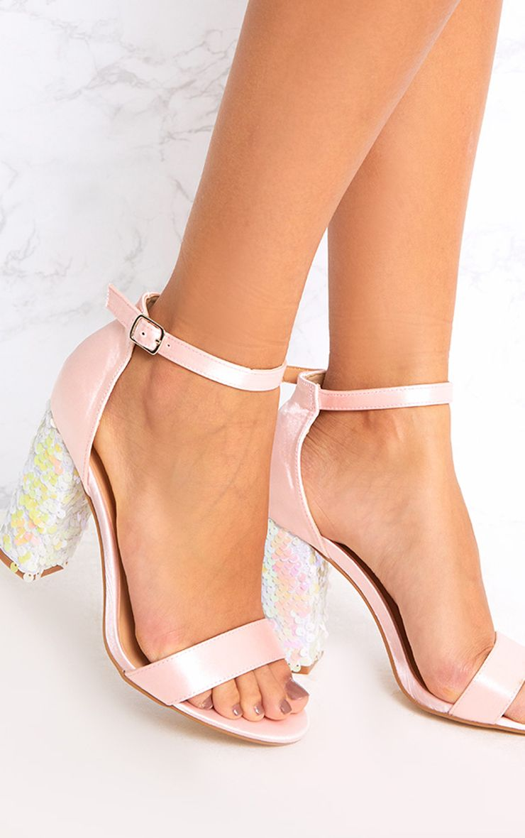 Kaya Ice Pink Sequin Heeled Sandals